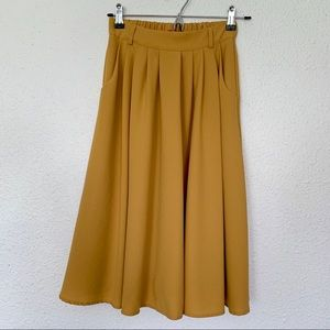 ModCloth Mustard Yellow Midi Skirt